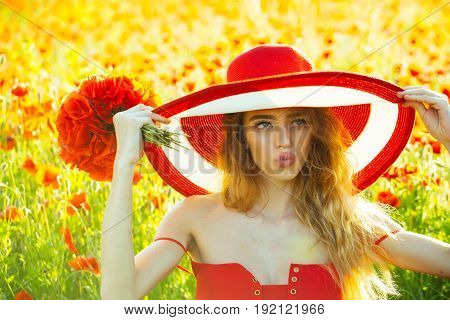 Hat On Retro Girl With Red Poppy Bouquet