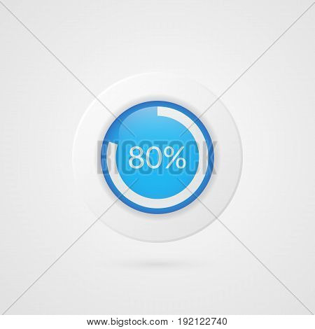 80 percent blue white pie chart. Percentage vector infographics. Eighty Circle diagram isolated symbol. Business illustration icon for marketing presentation project data report information plan web design
