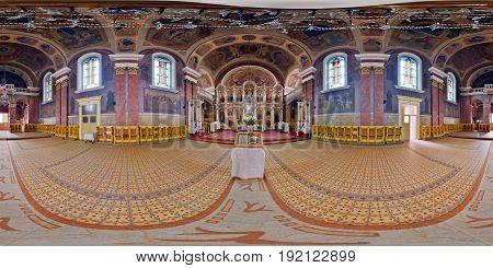 ARAD, ROMANIA - April 24: 360 interior panorama of Nativity of Saint John the Baptist Orthodox Cathedral in Arad, Romania
