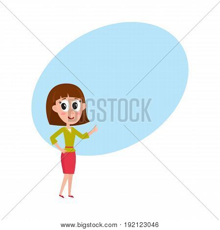 Cute and funny comic style pretty girl with brown shoulder length hair showing thumb up, cartoon vector illustration with space for text. Funny cartoon style woman, girl giving thumb up