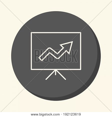 A stand with a growth chart a vector circular line icon with an illusion of volume a simple color change