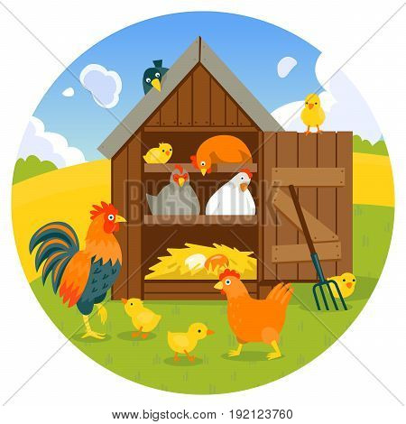 Henhouse with cute hens, chicks and rooster on a green lawn vector illustration cartoon style