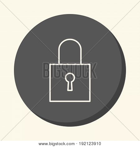 Closed padlock vector round line icon with volume illusion simple color change