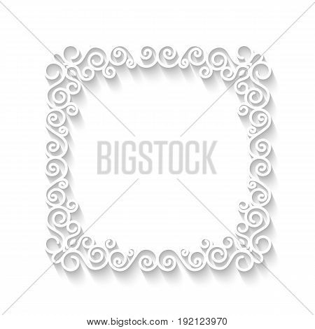 Vector vintage white paper frame with long shadows