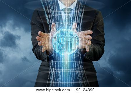 The Flow Of Information In The Hands Of The Businessman .