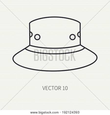 Line flat vector hunt and camping icon hat, cap, beret. Hunter equipment, armament. Retro cartoon style. Wildlife travel. Camouflage. Forest. Nature. Illustration and element for design, wallpaper