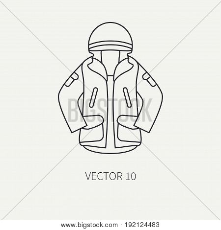 Line flat vector hunt and camping icon khaki jacket. Hunter equipment, armament. Retro cartoon style. Wildlife travel. Camouflage. Forest. Item. Nature. Illustration and element for design, wallpaper.