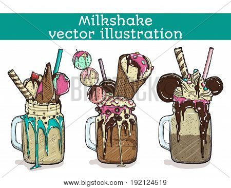 Set of different milkshakes. Chocolate, strawberry, vanilla and candy milkshakes. Vector cartoon illustration isolated on a white background.