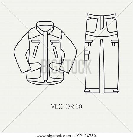 Line flat vector hunt and camping icon khaki jacket, pants set. Hunter equipment. Retro cartoon style. Wildlife travel. Camouflage. Forest. Nature. Illustration and element for your design, wallpaper.