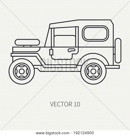 Line flat vector hunt and camping icon off-road car. Hunter equipment. Retro cartoon style. Wildlife travel. Camouflage. Forest. Adventure. Nature. Illustration and element for design, wallpaper.