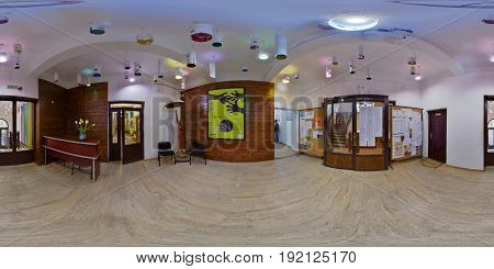 ARAD, ROMANIA - April 24: 360 panorama interior panorama of the entrance hallway of Sabin Dragoi Art School (Colegiul de Arte Sabin Dragoi) on National Musical Interpretation Olympiad days in Arad, Romania