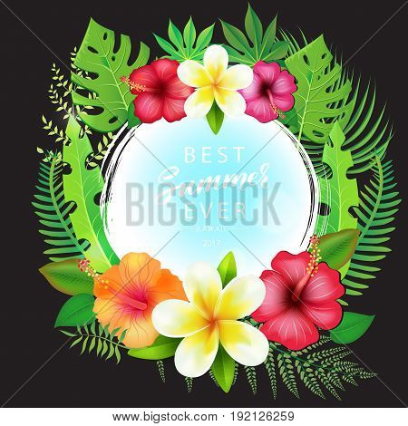Vector Illustration of an Abstract Background with Tropical Leaves and modern brush lettering Summertime theme