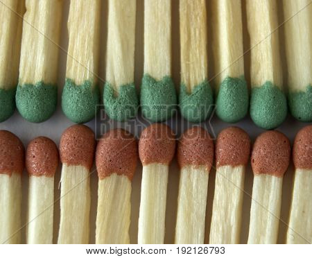Matches are added in two rows, touching each other, the macro