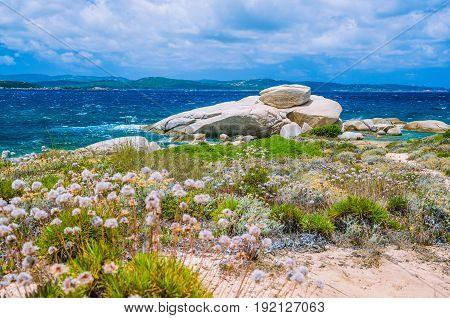 Windy costline with sandstone rocks near Costa Serena, Sardinia -Italy