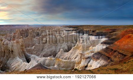 Panoramic view of hoodoos at Coalmine Canyon near Tuba City Arizona. A spectacular and other worldly landscape.