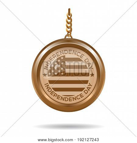 Round gold medallion on a chain with an American flag and inscription - Independence Day. 4th July. Independence Day. Vector illustration