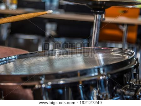 Close Up Of Snare Drum And A Drum Stick