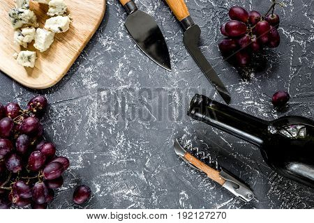 Appetizer cheese with blue mould and red grape on grey stone table background top view copyspace.