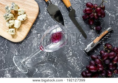 Aperitive parmesan cheese and red grape on grey stone table background.