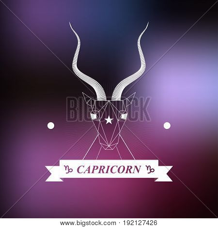 Capricorn Zodiac sign, Horoscope, tattoo, vintage badge, vector illustration