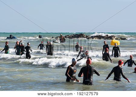 Pescara Italy - June 18 2017: Athletes before the race at Ironman 70.3 Pescara of June 18 2017