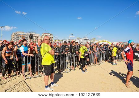 Pescara; Italy - June 18; 2017: Athletes on the starting line at Ironman 70.3 Pescara of June 18; 2017