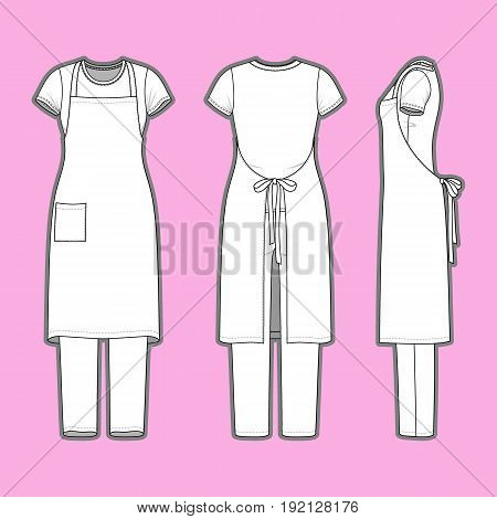 Front, back and side views of womens set. Blank templates of t-shirt, pants and apron. Casual style. Vector illustration on the pink background for your fashion design.