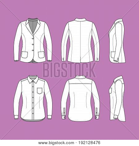 Womens clothing set. Blank template of classic blazer and shirt in front, back and side views. Business style. Vector illustration on the pink background for your fashion design.