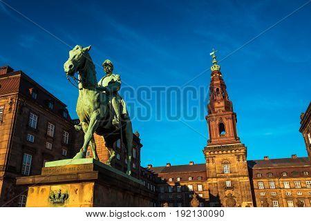 Equestrian statue of King Christian the 9th Copenhagen Denmark Inside the Danish Parliament Christiansborg palace