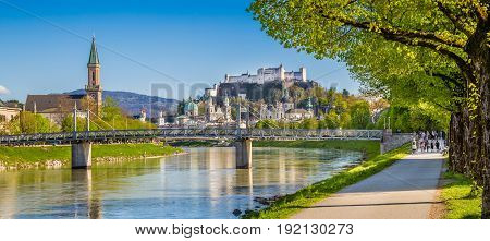 Salzburg Skyline With Festung Hohensalzburg And Salzach River In Summer, Salzburg, Salzburger Land,