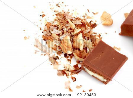 Close Up A Stuffed Chocolate Bar On White Background
