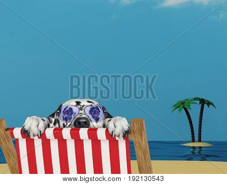 Dalmatian dog relaxing on a red deck chair on the sand beach