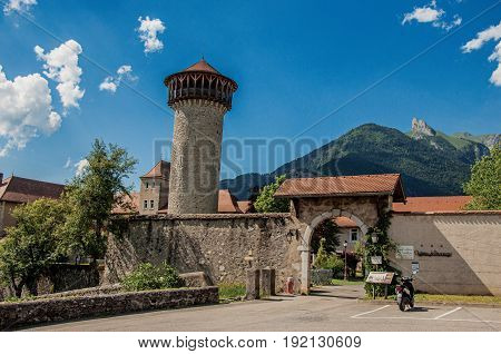 Faverges, France - June 29, 2016. Entrance of the Faverges Castle, in the village of Faverges, near the Lake of Annecy. Department of Haute-Savoie, Auvergne-Rhône-Alpes region, south-eastern France