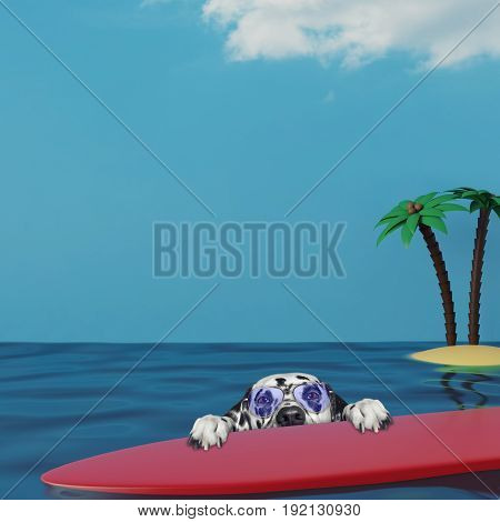 Dalmatian dog in glasses surfing on a surfboard at the ocean near the sand beach