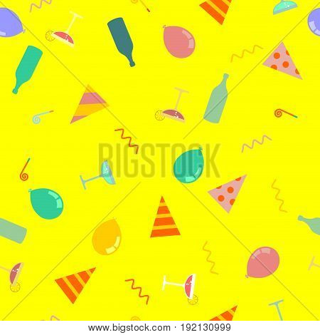 Party Pattern. Celebratory Cap And Party Horn. Balloon And Bottle Of Alcohol. Holiday Background