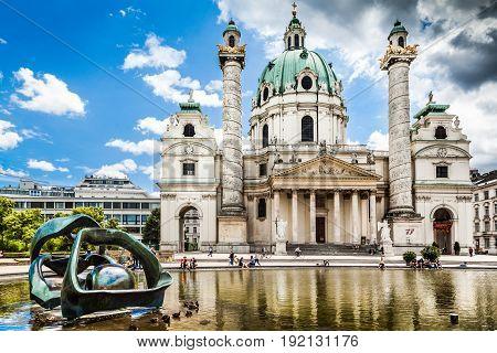 Beautiful View Of Famous Saint Charles's Church (wiener Karlskirche) At Karlsplatz In Vienna, Austri