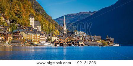 Hallstatt Mountain Village In Fall, Salzkammergut, Austria