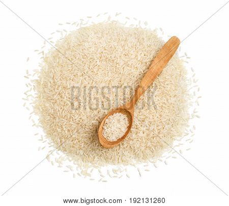 Wooden spoon and pile of parboiled rice isolated on white background. Healthy food. Close up top view high resolution product.