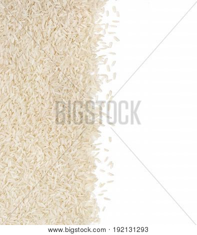 Parboiled rice on white background. Copy space for your text. Top view high resolution product. Healthy food concept