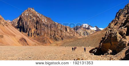 Mountain landscape in the Andes with hikers trekking Argentina South America