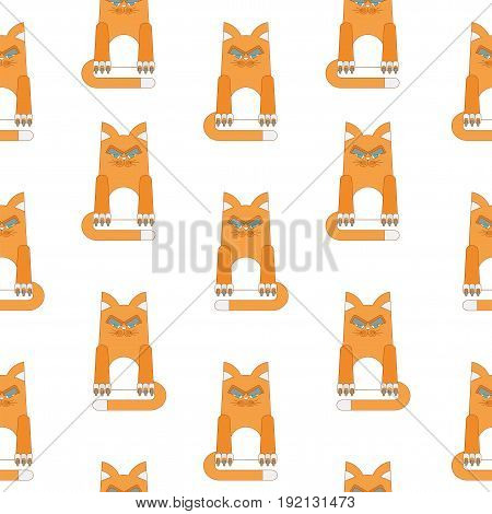 Seamless pattern with redhead malicious and dissatisfied fat cat. Flat vector cartoon illustration. Objects isolated on a white background.