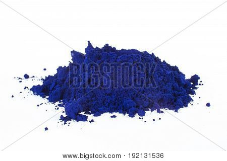 pigment on a white background, blue pigment, prussian blue