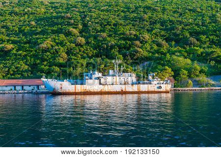 In The Boka-kotorsky Bay Opposite The Town Of Herceg Novi Is An Abandoned Military Ship
