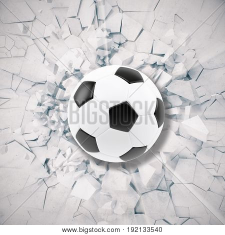 Sport illustration with soccer ball coming in cracked wall. Cracked concrete earth abstract background, 3d rendering