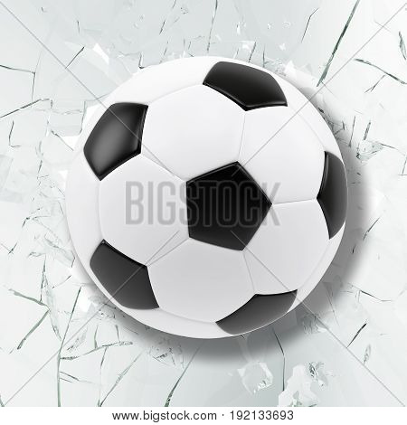 Sport illustration with soccer ball coming in cracked glass wall. Cracked glass wall, 3d rendering