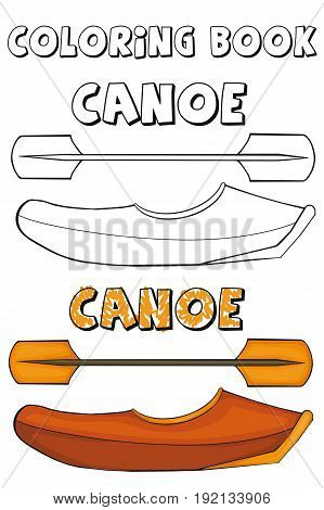 Coloring book   Canoe.  Cartoon style. Clip art for children.