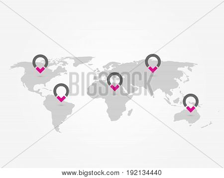 Map of World with navigation pointers. Grey map infographics with ring pins. Vector illustration.