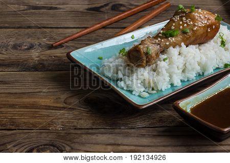 Chicken Teriyaki Legs And Rice
