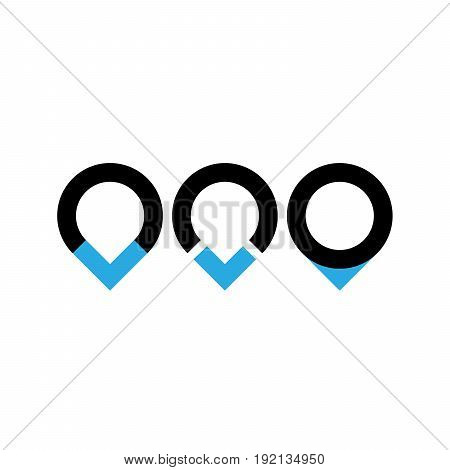 Set of three original map pointers - navigation pins. Simple flat vector objects in black and blue.