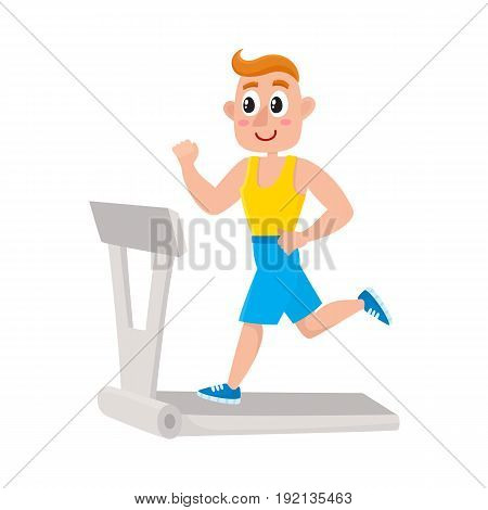 Young man running on treadmill, training in gym, doing sport exercises, cartoon vector illustration isolated on white background. Cartoon man, guy running on treadmill, doing cardio in gym
